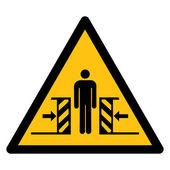 Warning sign RISK OF CRUSHING — Stock Vector