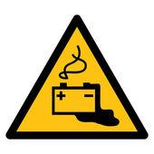 Warning sign Danger from loading batteries — Stockvektor