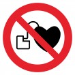 No access with cardiac pacemaker sign — Stock Vector