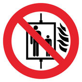 Prohibition sign DO NOT USE ELEVATOR IN CASE OF FIRE — Stock Vector