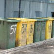 Row of large bins — 图库照片