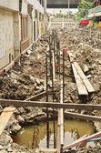 Metal rods bars reinforcement for concrete pole — Stock Photo