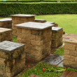 Brick seat and table — Stock Photo