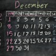 December 2013 on a blackboard — Stock Photo