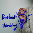 Posive thinking and light bulb — Stock Photo