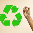 Hand drawing recycle symbol — Stock Photo