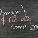 Dream's come true words written on chalkboard — Stock Photo #32487003