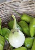 Eggplant on basket — Stock fotografie