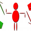 Business figure with arrows — Stock Photo
