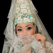 Portrait of bride  in the Kazakh national Wedding Jewelry — Stock Photo