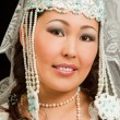Asian bride in the Kazakh wedding white dress with a veil on his face, isol - Foto Stock