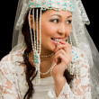 Portrait of bride  in the Kazakh national Wedding Jewelry - 图库照片