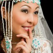 Kazakh bride in national wedding white dress isolated black background - Stockfoto