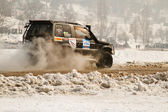 Almaty, Kazakhstan - February 11, 2012. Off-road racing jeeps, festival, d — Stock Photo