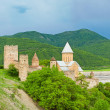 Panorama of Castle with Church in Caucasus region near Tbilisi, Georgia — Stock Photo