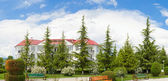 Panorama of nature and the holiday home in Georgia — Stock Photo