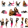 Collection of  two fitness women make stretch on yoga and pilates pose on i - Stock Photo