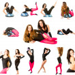 Stock Photo: Collection of two fitness women make stretch on yoga and pilates pose on i