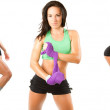 Collection of beautiful fitness woman with towel after workout at gym on w — Stock Photo