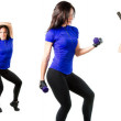 Young woman exercising collage - yoga,fitness,pilates,aerobics on isolated — Stock Photo