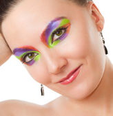 Closeup portrait of a young woman with bright evening make-up, isolated on — Stock Photo