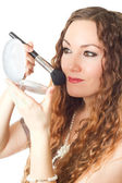 Makeup woman Portrait of model woman with long hair having cosmetics wit — Stock Photo