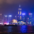 Hong Kong night view of skyline with reflections — Stock Photo #14816733