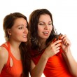 Two friends cut their hair on a white background — Stock Photo #14922985