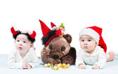 Two santa baby girls in Christmas on isolated white background The concept of childhood and holiday — Stock Photo