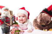 Santa baby girl in Christmas on isolated white background The concept of childhood and holiday — Stock Photo