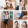 Business theme: Collage of  successful  businesswoman in office environment. - Stock Photo