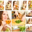 Collage of pregnant woman on kitchen with fresh vegetables.The concept of food and  healthy lifestyle — Stock Photo