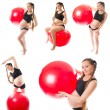 Collage of pregnant fitness woman make exercise on fit ball on white background.  The concept of Sport and Health — Stock Photo