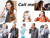 Collage of successful businesswoman, businessman talk phone — Stock Photo