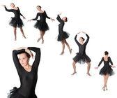 Collage von frau ballerina tänzerin stehende pose auf weißem hintergrund isoliert. — Stockfoto