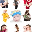 Collage of different photos of babies and father, mother. Family happy moments — Stock Photo #19281551