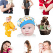 Collage of different photos of babies and father, mother. Family happy moments - Stock Photo