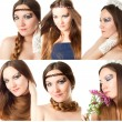 Collage. Beautiful young women with stylish creative makeup and body art on white background. Makeup, fashion, beauty. — 图库照片