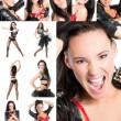 Stock Photo: Collage with young beautiful sensuality womcomposed of different images isolated on white background