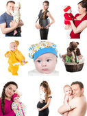 Collage of different photos of babies and father, mother. Family happy moments — Foto Stock