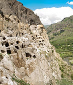 Panorama of mountains and medieval cave city-monastery Vardzia,Georgia,Transcaucasus — Stock Photo