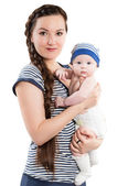 Mother and baby girl on isolated white background Use it for a child, parenting or love concept — Stock Photo