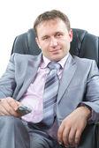 Portrét pohledný mladý šéf, izolovaných na bílém pozadí. podnikatelský koncept a úspěch — Stock fotografie
