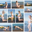 Collage of pregnant woman in sports bra doing exercise in relaxation on yoga pose on sea - Foto de Stock