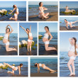 Collage of pregnant woman in sports bra doing exercise in relaxation on yoga pose on sea — Foto Stock
