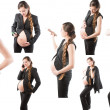 Pregnant businesswoman with laptop at work isolated on white background — Stock Photo