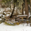 Beautiful winter with a  picnic table and benches in the snow in Kazakhstan, Almaty — Stock Photo