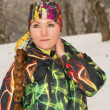 Beautiful woman in ski suit in snowy winter outdoors, Almaty, Kazakhstan, Asia — Stock Photo #24694393