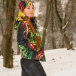 Beautiful woman in ski suit in snowy winter outdoors, Almaty, Kazakhstan, Asia — Stock Photo