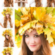 Beautiful fall woman. Collage of portrait of girl with autumn wreath of maple leaves on the head on isolated white background — Stock Photo #24695945